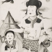 Little Worldwalk, 2010, pencil on watercolorpaper, 72 x 52 cm