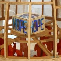 Hope, 2011, multiplex, acrylic color, kassava-paper, led-lamps, resin, 180 x 160 x 180 cm