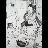 Auf der Terrasse, 2010, pencil on watercolorpaper, 72 x 52 cm