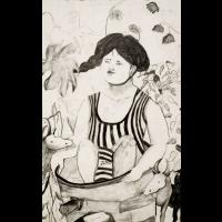 Das Bad, 2010, pencil on watercolorpaper, 72 x 47 cm