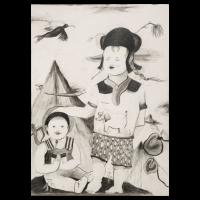 Little Worldwalk, 2010, pencil on watercolorpaper, 72 x 52 cm